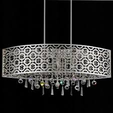 picture of 30 forme modern laser cut drum shade oval crystal pendant chandelier stainless steel