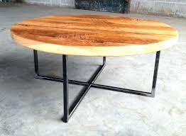 metal and wood coffee table round reclaimed with base rustic full size
