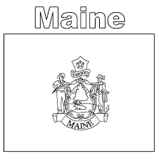 Maine State Flag Coloring Page Color Luna