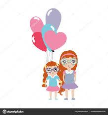 可愛い髪型 風船と女の子 ベクトル イラスト ストックベクター