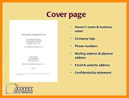 Business Plan Cover Page Template Title