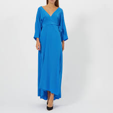 Diane Von Furstenberg Womens Long Sleeve Floor Length Wrap Dress Cobalt