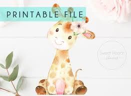 girl giraffe printable stand up baby