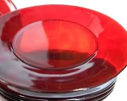 red glass plates vintage ruby red glass dinner plates 9 1 4 set lot vintage ruby red glass plates red glass dinnerware