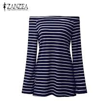 Zanzea Women Off Shoulder Striped Slim Blouse Shirt 2019 ...