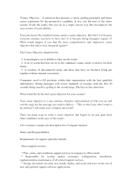 Cover Letter Career Objective On Sample Resume Template By Brad