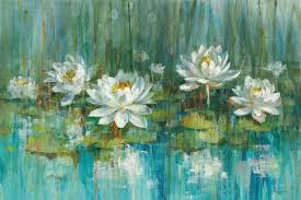 water lily pond painting print on canvas