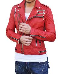 men s motorcycle asymmetrical zipper red leather jacket