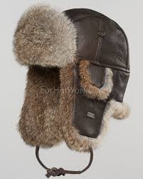 vintage rodeo leather rabbit fur aviator hat for men