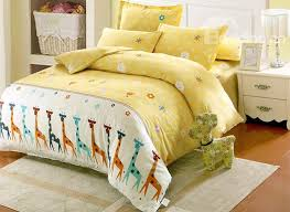69 giraffe and small flower pattern cotton cute style 4 piece duvet covers bedding sets