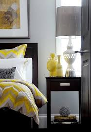 view in gallery bedding and vases add pops of yellow to the gray bedroom design atmosphere interior