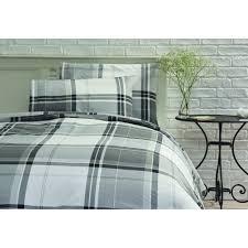 wilko duvet set double checked design black and