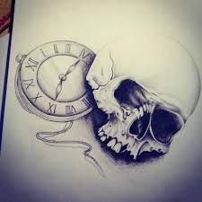 Tetování Lebka Hodiny Tetování Tattoo