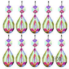10pcs hanging drops pendants colorful crystal chandelier lamp prisms parts 38mm