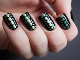 black green easy nail art design | Trendy Mods.Com