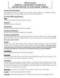 How To Write A Formal Lab Report For Chemistry Formal Lab Report Example Chemistry
