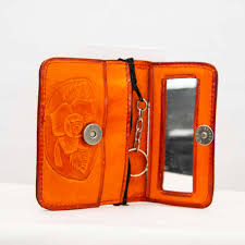 handmade mexican artis hand tooled leather coin purse pouch with mirror and zipper orange amantli