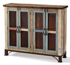bookcase with doors. Solid Pine Wood Rustic Console Bookcase With Mesh Doors In Multi-colored Finish A
