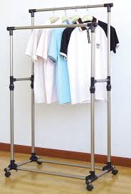 New Heavy Duty Double Rail sturdy rolling clothes rack design