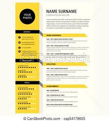 Creative Cv Resume Template Yellow Color Minimalist Vector Cool Resume Background