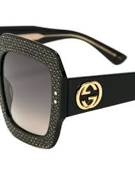 gucci sunglasses. gucci eyewear oversize crystal square sunglasses