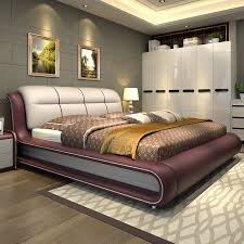 Modern bedroom furniture bed with genuine leather M01 - online shopping