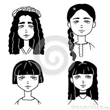 Set Of Cartoon Black And White Sketches Of Cute Girls Doodle Style