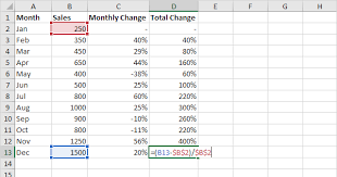 Chart To Show Percentage Increase Percent Change Formula In Excel Easy Excel Tutorial