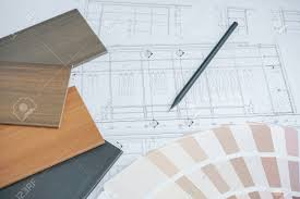 architectural drawings of modern houses. Color And Material Samples On Architectural Drawings Of The Modern House Stock Photo - 62734644 Houses