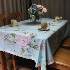 decorative table cloth light blue cotton tablecloth for wedding party romantic garden tea table cover decorative