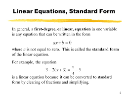 2 linear equations standard form where a is not equal to zero