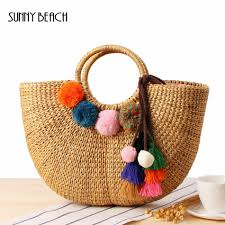 Pom Pom Purse Designer Sunny Beach Women Handmade Beach Bag Straw Totes Bag Summer Bags Tassels Pom Pom Natural Basket Handbag Pompom Bag Purses Designer Handbags From