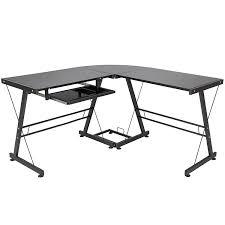 com best choice s l shape computer desk pc glass laptop table workstation corner home office black kitchen dining