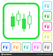 Candlestick Chart Vivid Colored Flat Icons Curved Borders