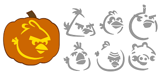 Free jack-o-lantern stencils inspired by Angry Birds