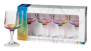 acrylic rainbow reflections wine glasses by merritt international set of 4 8 ounce glasses com