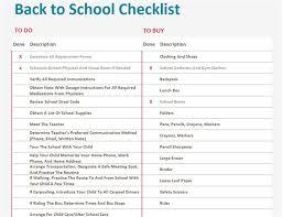 Checklist For School Back To School Checklist