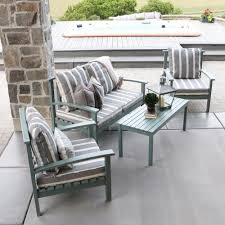 gray outdoor patio set. ocean grey acacia wood 4-piece patio conversation set with cushions gray outdoor a