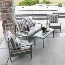 walker edison furniture company ocean grey acacia wood 4 piece patio conversation set with cushions