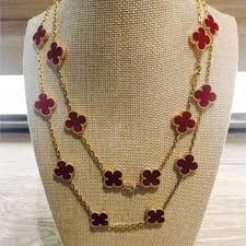 van cleef arpels vintage alhambra 18k yellow gold carnelian 20 motifs long necklace