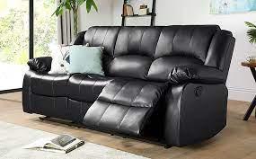 dakota black leather 3 seater recliner