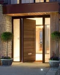 inside front door apartment. Urban Front Contemporary Wooden Door With Glass Side Panels - Flat Roof On Entry And Extended Past Main House Allowing For An Interior Hallway Inside Apartment