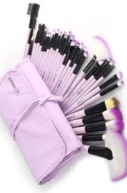 32 piece lavender makeup brushes set with bag