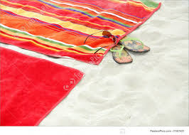beach towels on sand. Leisure: Colorful Beach Towels On Sandy Sand L