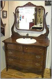 an antique bathroom vanity