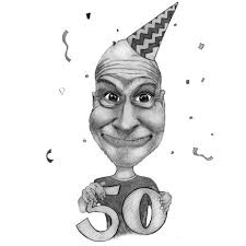 50th birthday caricature gift from photos in pencils exle