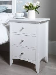 cute white wood bedside table white