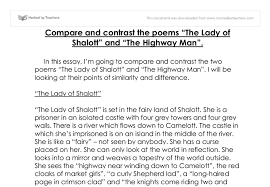 compare and contrast the poems the lady of shalott and the highway  document image preview