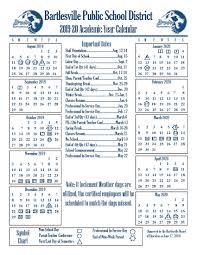 Academic Year Calendars Bartlesville Public Schools
