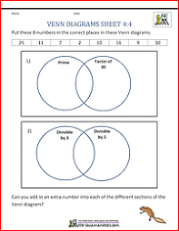 Math Venn Diagram Worksheet Venn Diagram Worksheet 4th Grade